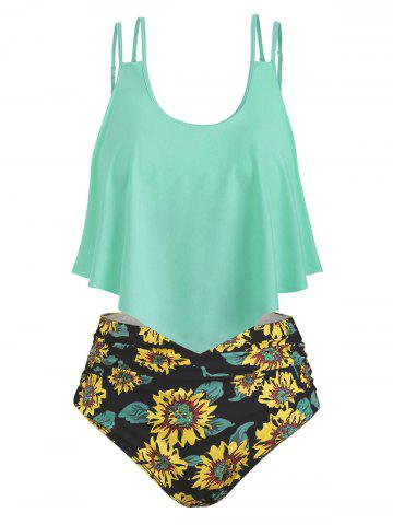 Contrast Overlay Sunflower Plus Size Tankini Set - PALE BLUE LILY - 3X