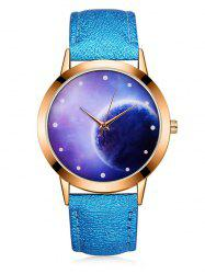 3D Lunar Mirror PU Quartz Watch -