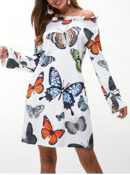 Butterfly Print Lettuce Tunic Dress -