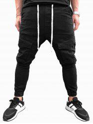 Solid Color Drawstring Casual Jogger Pants -