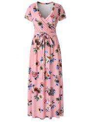 Floral Surplice Maxi Dress -