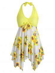 Bowknot Contrast Sunflower Plus Size Tankini Set -