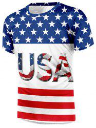 American Flag Letter Print Casual T-shirt -