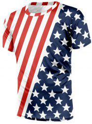 American Flag Print Short Sleeves T-shirt -