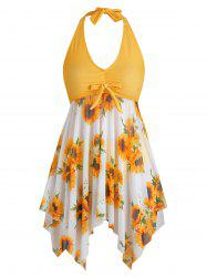 Bowknot Contrast Sunflower Floral Butterfly Plus Size Tankini Set -