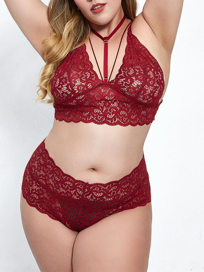 Outfits Strappy Choker Lace Plus Size Bra Set