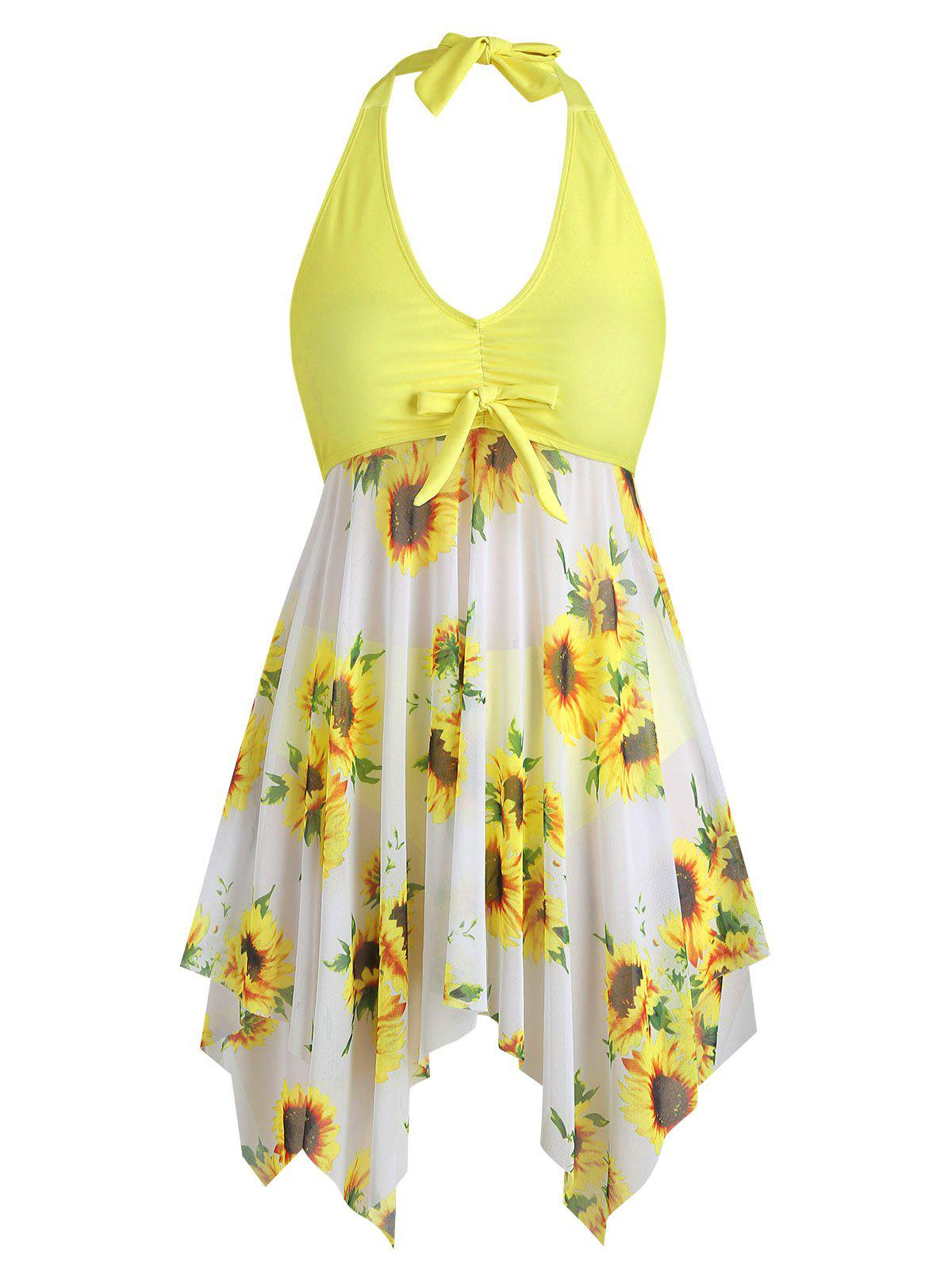 Chic Bowknot Contrast Sunflower Plus Size Tankini Set