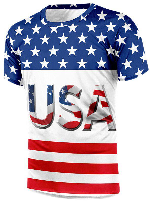 Chic American Flag Letter Print Casual T-shirt