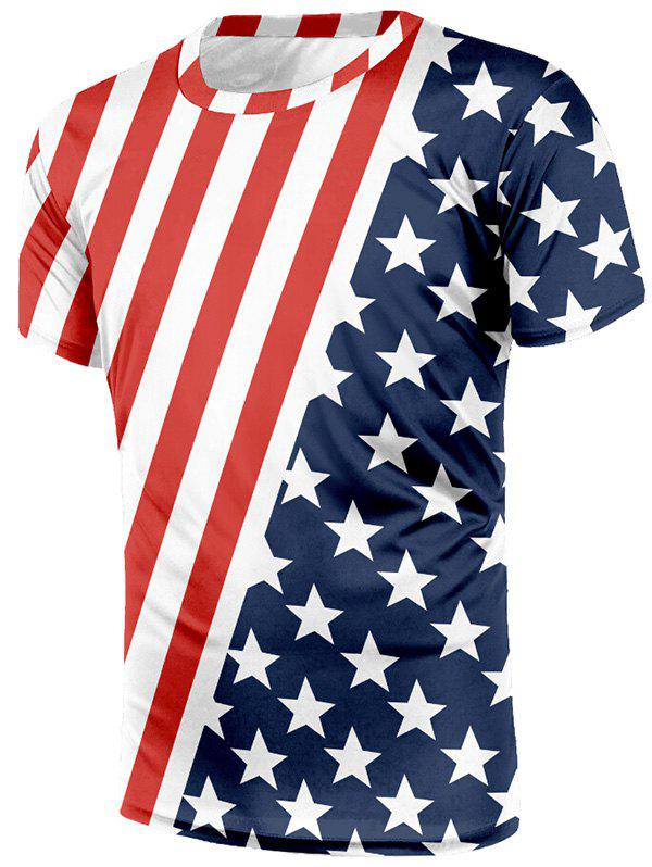 Shops American Flag Print Short Sleeves T-shirt