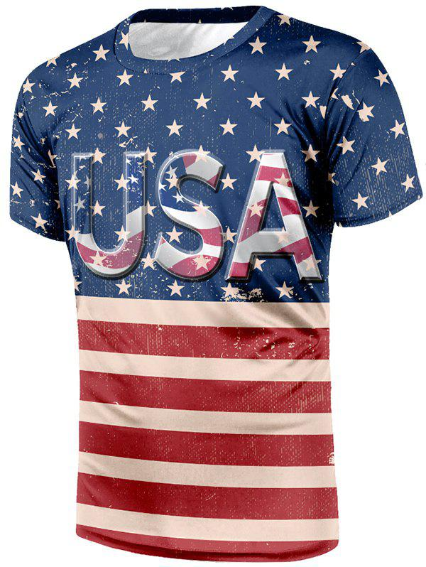 Outfit Retro American Flag Print Short Sleeves T-shirt
