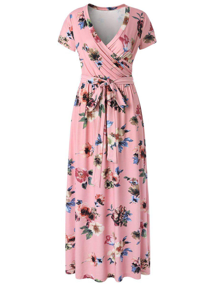 Hot Floral Surplice Maxi Dress