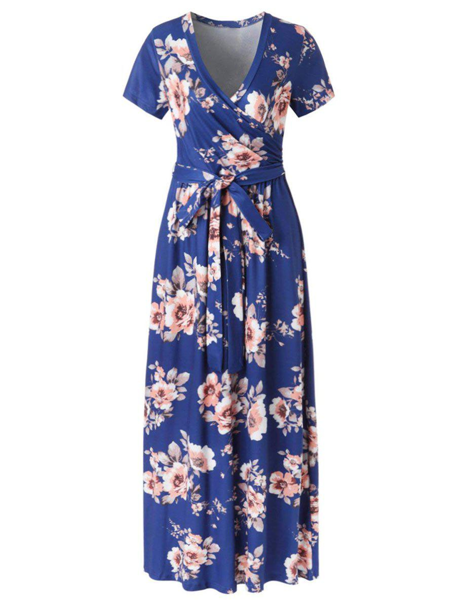 Outfit Floral Surplice Maxi Dress