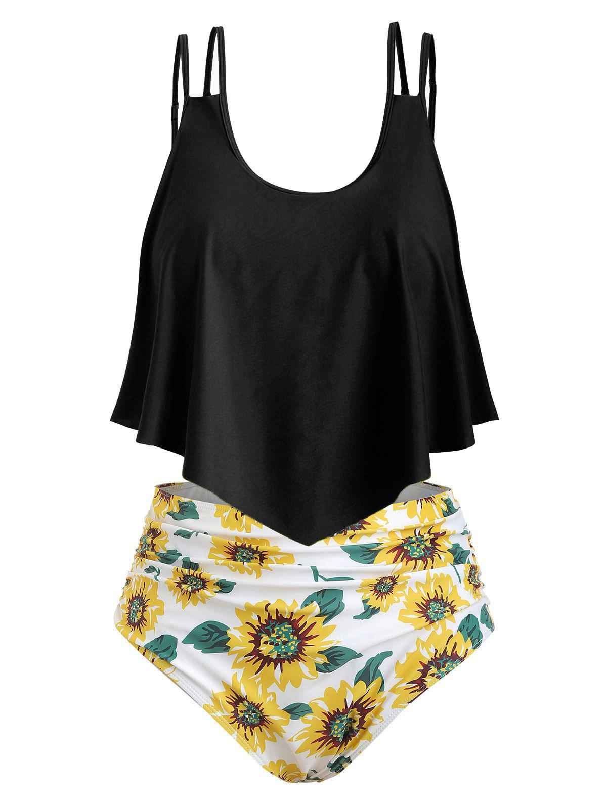 Contrast Overlay Sunflower Plus Size Tankini Set фото