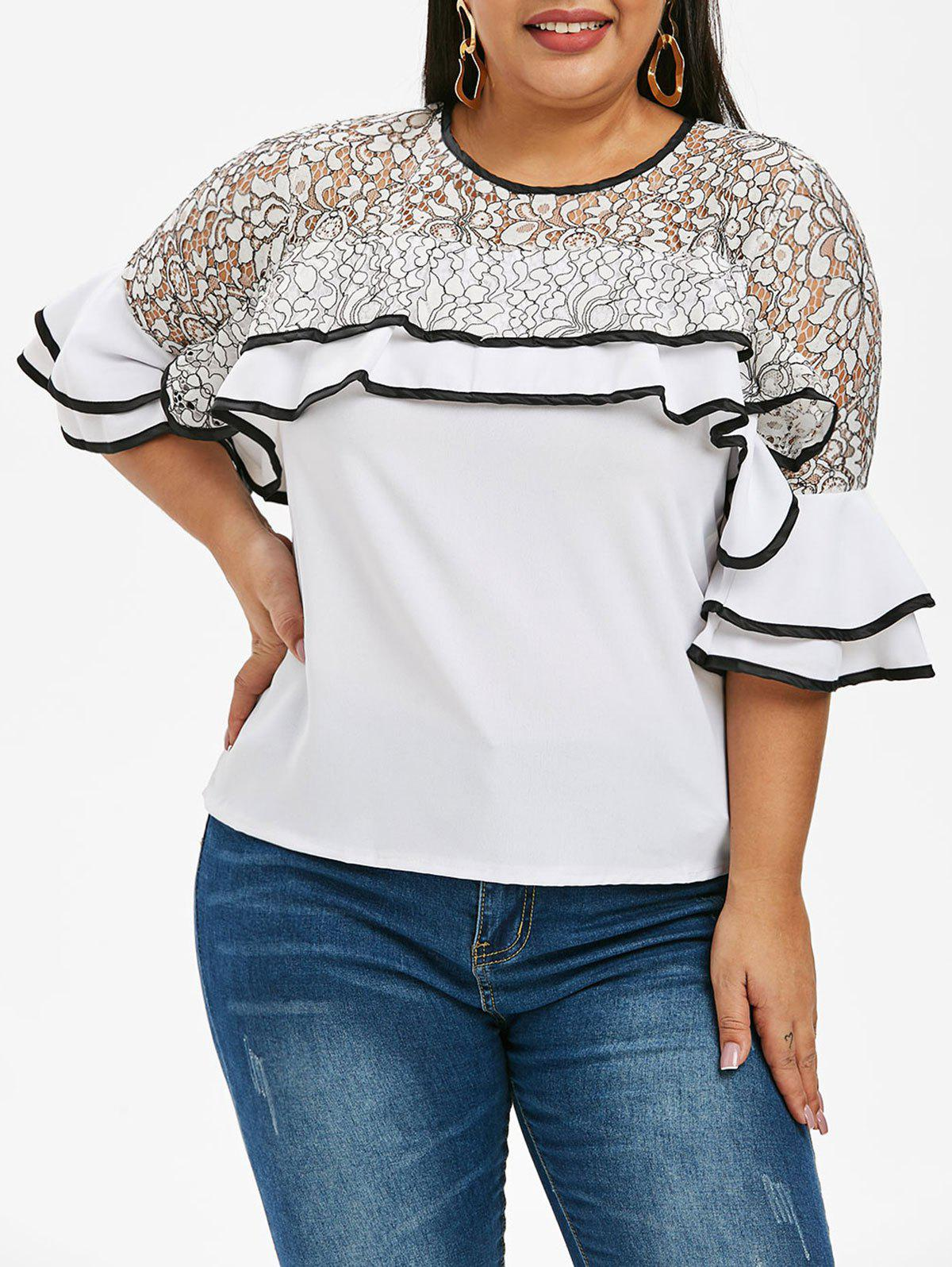 d3d95305a8e 32% OFF   2019 Plus Size Bell Sleeve Lace Panel Ruffled Blouse ...