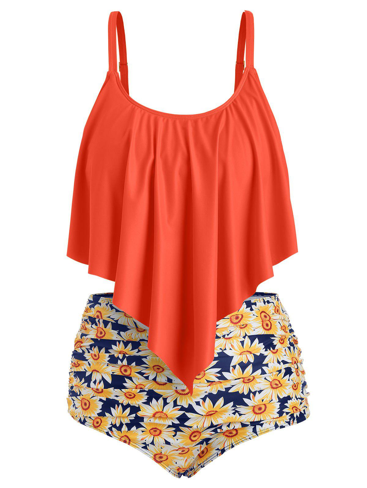New Plus Size Overlay Sunflower Print Ruched Bikini Set