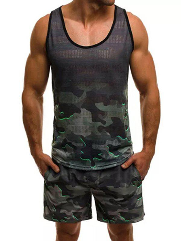 Camouflage Pattern Tank Top and Shorts, Woodland camouflage