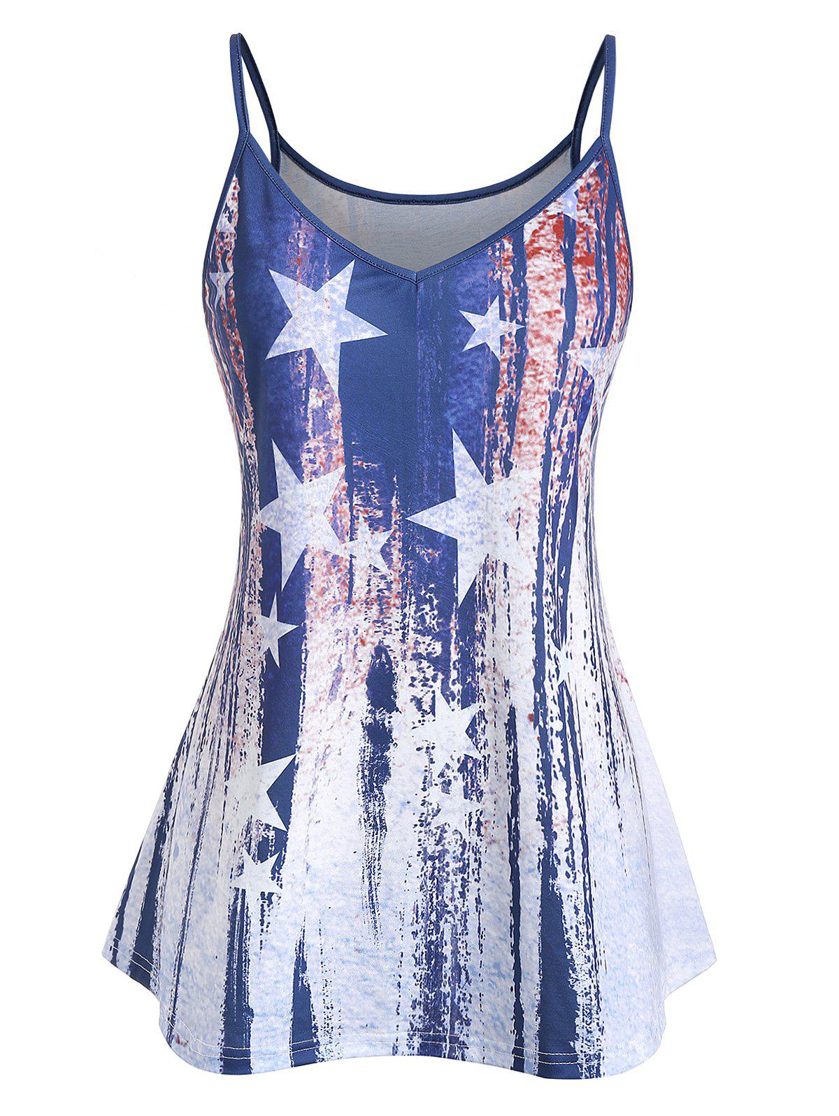 Online Plus Size Cami American Flag Print Tank Top