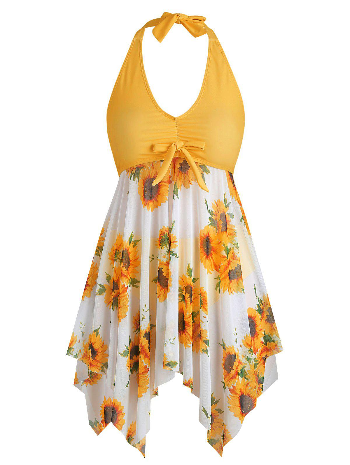 Discount Bowknot Contrast Sunflower Floral Butterfly Plus Size Tankini Set
