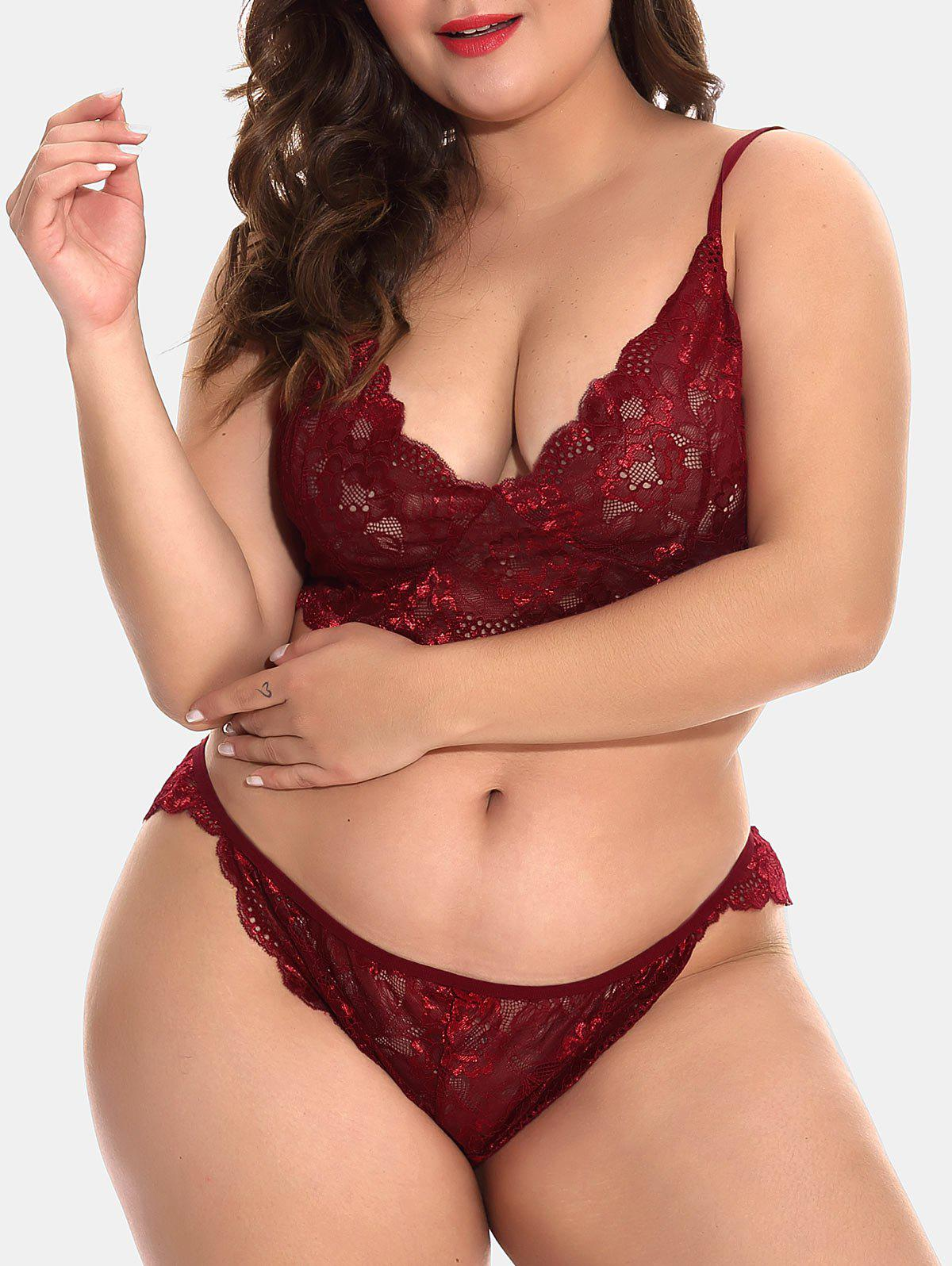 Cheap Plus Size See Through Lace Bralette Set