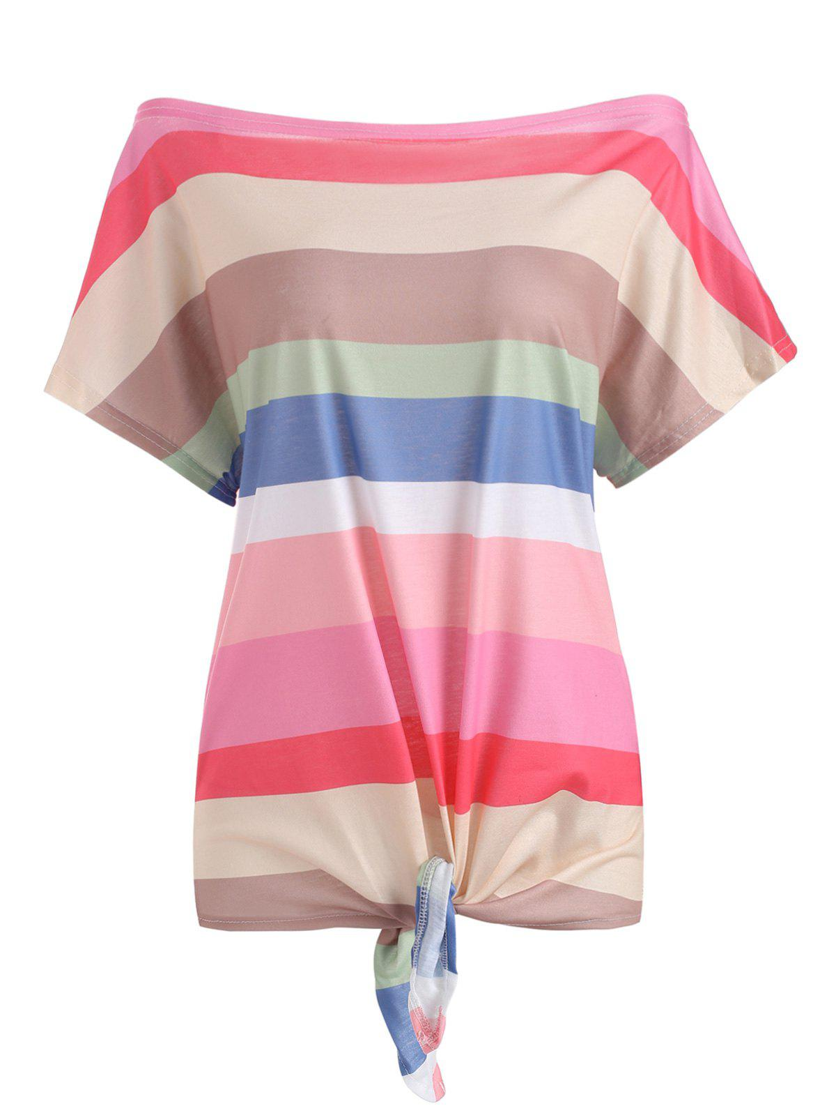 Shop Striped Off Shoulder Batwing Sleeve T-shirt