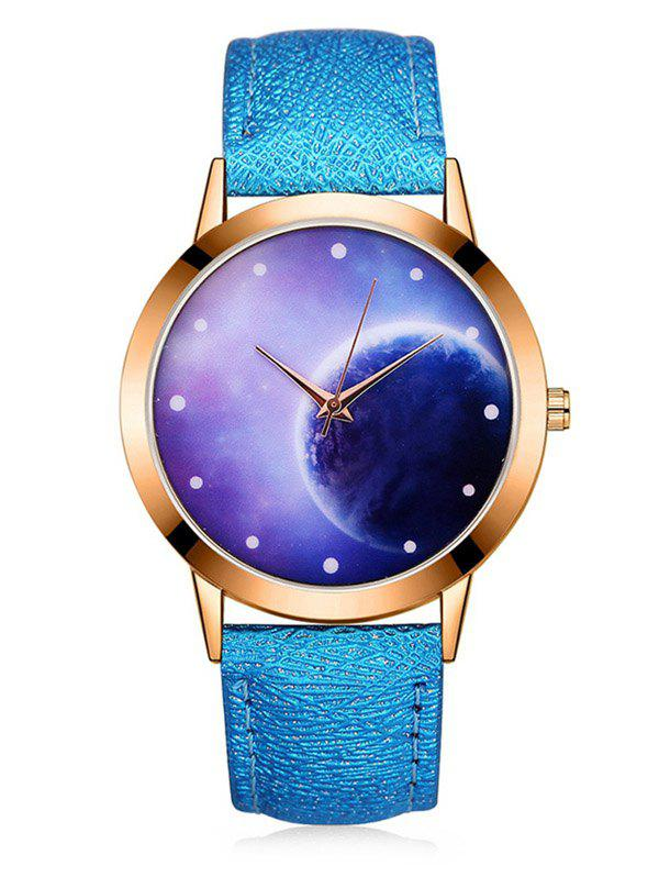 Affordable 3D Lunar Mirror PU Quartz Watch