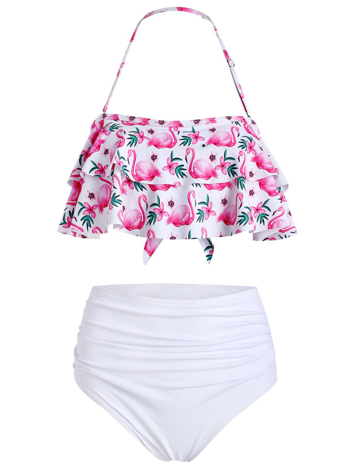 Trendy Flamingo Print Flounce Ruched Bikini Set