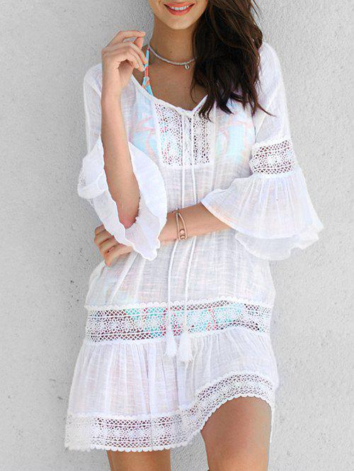 New Lace Applique Bell Sleeve Cover Up Dress