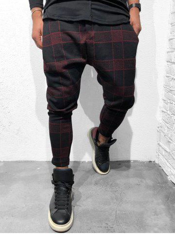Plaid Drawstring Jogger Pants