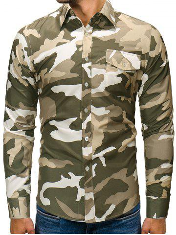 Camouflage Print Button Up Long Sleeve Pocket Shirt
