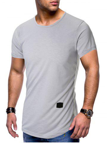 Applique Curved Hem Short Sleeves T-shirt