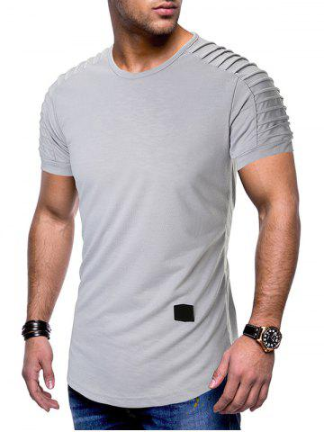 Pleated Raglan Sleeves Curved Hem T-shirt