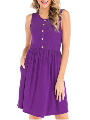 Button Embellished Sleeveless Dress