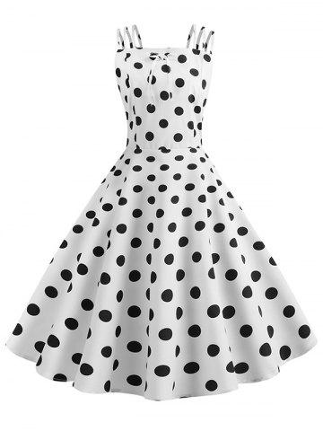 Bowknot Polka Dot Vintage Strappy Dress
