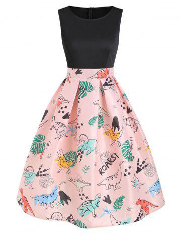 Dinosaur Print Sleeveless A Line Dress
