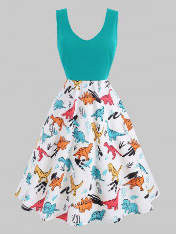 Plus Size Dinosaur Print Fit and Flare Dress