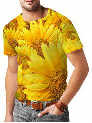 Sunflower Pattern Short Sleeves T-shirt -