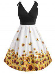 Sunflower Plus Size Surplice Vintage Dress -