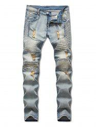 Light Wash Ripped Design Jeans -