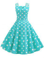 Bowknot Polka Dot Vintage Strappy Dress -