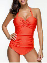 Solid Color Ruched Halter Swimsuit -