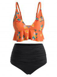 Orange Print Flounce Plus Size Bikini Set -