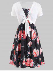 Plus Size Cami Floral Dress And Knotted Top Set -