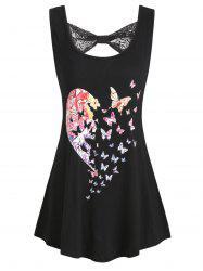 Heart Butterfly Print Lace Panel Tank Top -