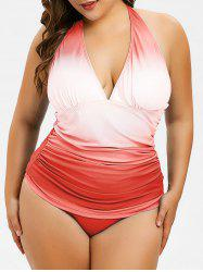 Ruched Plus Size Ombre Tankini Set -