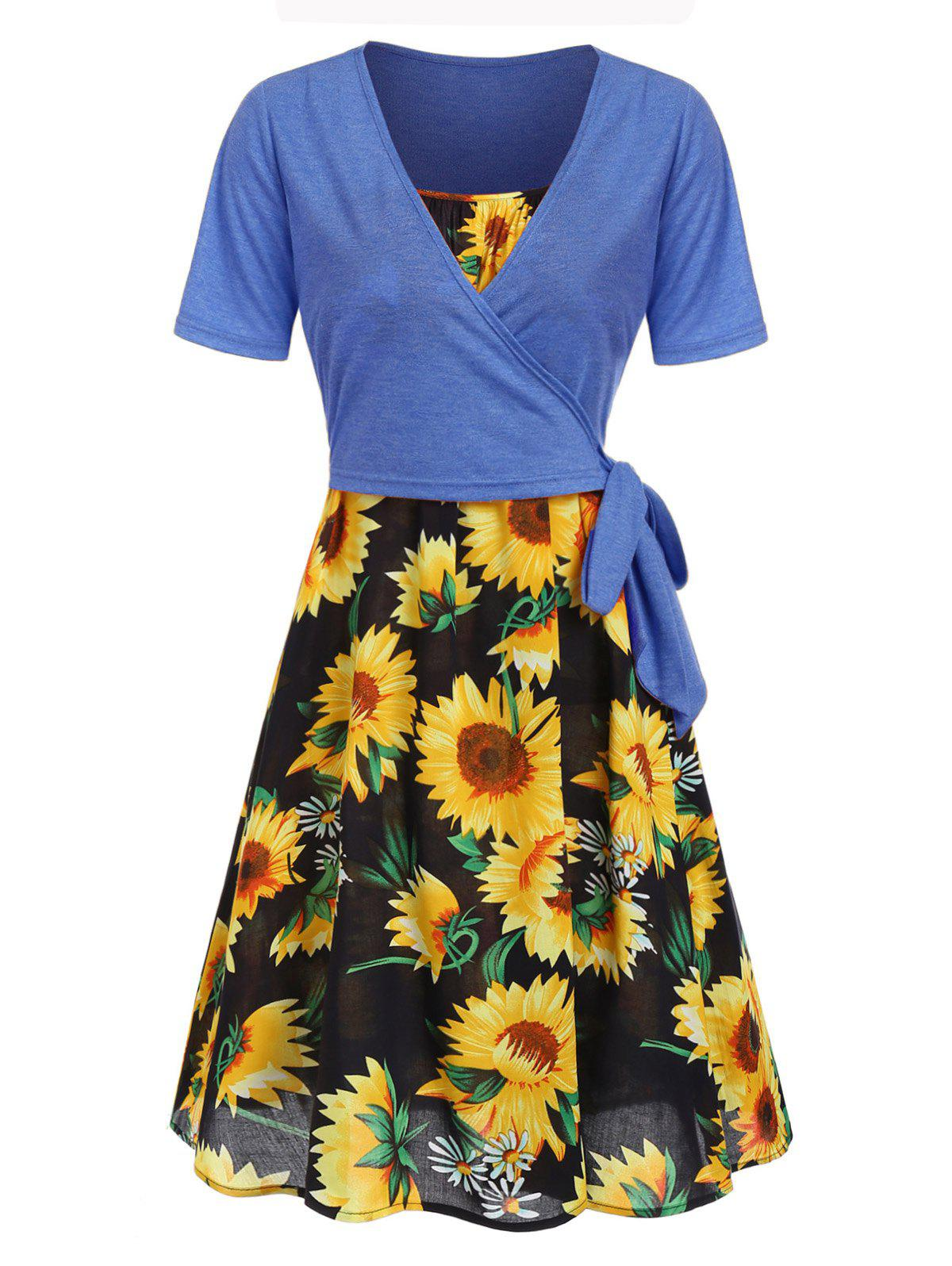 Outfits Sunflower Cami Dress and Wrap T-shirt Set