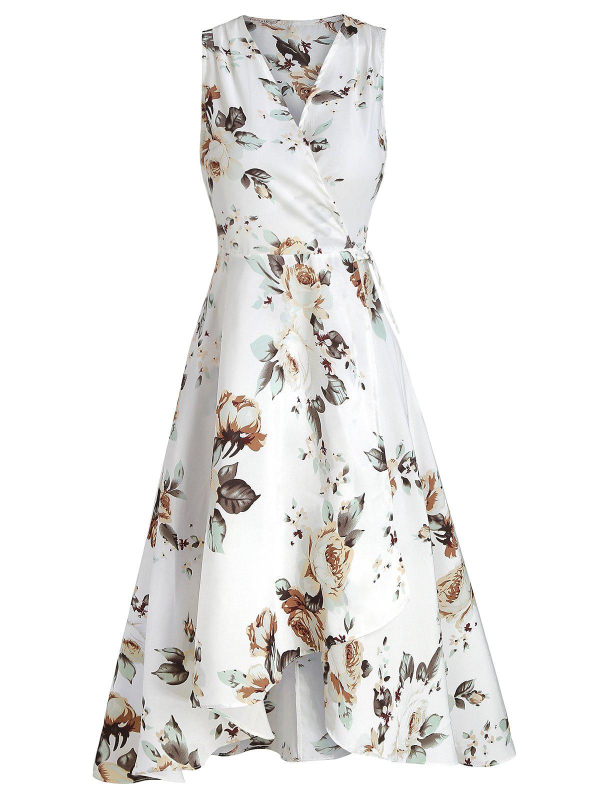 New Wrap Floral Print High Low Hem Dress