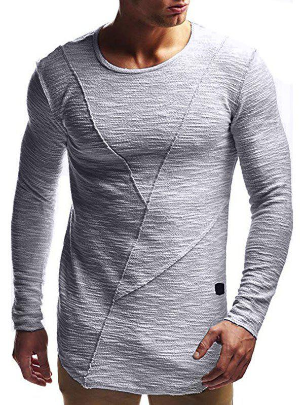 Solid Color Design Long Sleeves T-shirt, Gray goose
