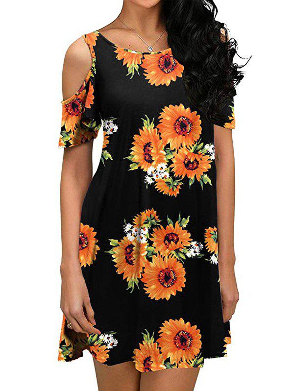 New Flower Open Shoulder Mini Dress