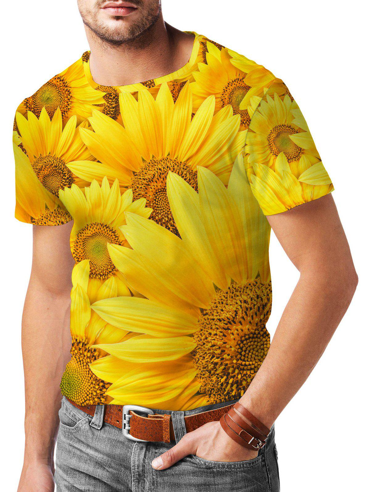 Latest Sunflower Pattern Short Sleeves T-shirt