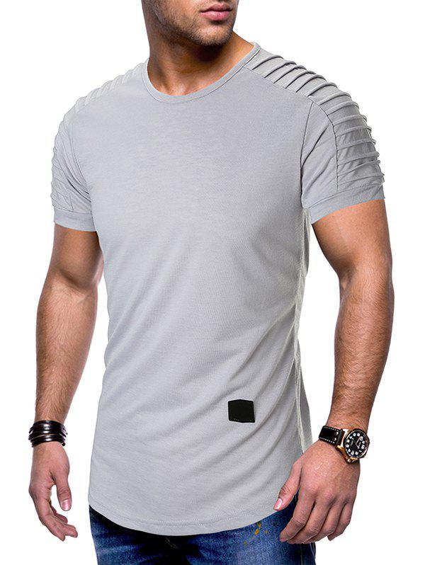 Best Pleated Raglan Sleeves Curved Hem T-shirt